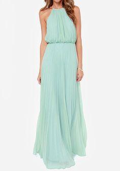 Light Green Plain Draped Backless Sleeveless Elegant Hot Sale Chiffon Maxi Dress - Dresses