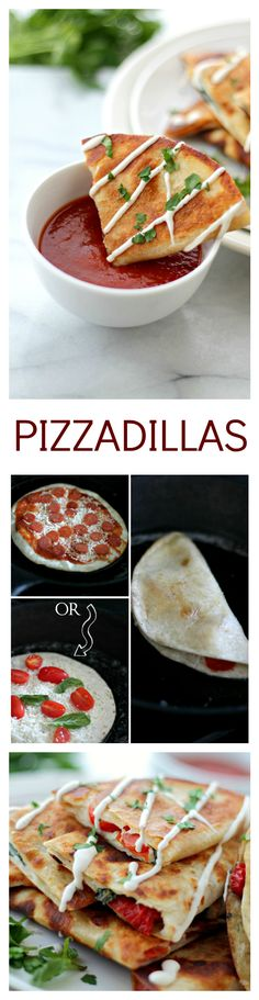 Pizzadillas- All the gooey and cheesy pizza toppings inside of warm flour tortillas. I Love Food, Good Food, Yummy Food, Pizzadilla Recipe, Sauce Pizza, Pizza Pizza, Pizza Party, Tapas, Appetizer Recipes