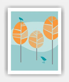 BIRD TALK Mid Century Modern Trees and Birds 8x10 Art Print. $11.95, via Etsy.