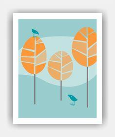 BIRD TALK Mid Century Modern Trees and Birds 8x10 Art Print. $11.95, via Etsy.