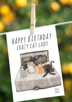 Funny Birthday Card Crazy Cat Lady Birthday, Funny Friend Birthday Card,Funny Birthday Card for mom, card for grandma, best friend card