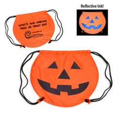 Pumpkin Drawstring Backpack - Round cinch bag with jack o lantern stock art in reflective ink.