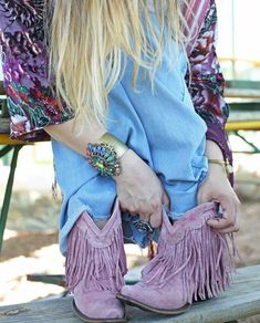 Smoky Children Ellie Waxed Distress Vintage Purple Leather Cowboy Boot Brown Di