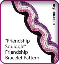 Friendship Bracelet Pattern Friendship Squiggle design written and video instructions using the My Friendship Bracelet Maker by MyFBM.com
