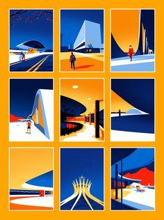 Ilustrações minimalistas celebram a beleza da arquitetura moderna de Oscar Niemeyer Oscar Niemeyer, Illustration Vector, Vector Art, Graphic Illustrations, Grid Design, Penguin Books, Arte Pop, Art Moderne, Graphic Design Inspiration