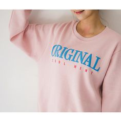 Lettering Brushed-Fleece Lined Sweatshirt ($31) ❤ liked on Polyvore featuring tops, hoodies, sweatshirts, pink sweatshirts, sleeve top, fleece lined sweatshirt, pink top and seoul fashion