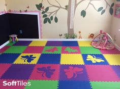 Make a playroom that your child will always remember! This girl's playroom uses SoftTiles 2x2 Foam Mats and our Butterfly Foam Mats cut in the same colors. With SoftTiles, you choose your colors and die-cut shapes to match your playroom decor.