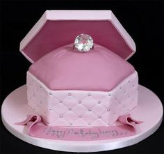 Ring box cake - perfect for engagement party or bridal shower Fancy Cakes, Cute Cakes, Pretty Cakes, Beautiful Cakes, Amazing Cakes, Novelty Birthday Cakes, Novelty Cakes, Fondant Cakes, Cupcake Cakes