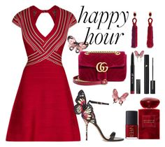 """""""Bottoms Up: Happy Hour"""" by anna-gabedava ❤ liked on Polyvore featuring Hervé Léger, Sophia Webster, Gucci, Oscar de la Renta, Giorgio Armani, Lancôme, Charlotte Russe, NARS Cosmetics, dress and summerdress"""