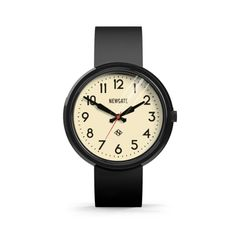 The Electric Grand in gloss black by Newgate Watches. A retro inspired watch with an iconic mid-century style dial. The oversized gloss black case is ion plated with matching black silicone strap. See the full collection of iconic British timepieces at  www.newgatewatches.com.