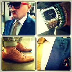Men's fashion, dapper, dandy, camo pants, knit tie, ALDO accessories, leather brogue wingtips