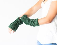Black Friday - Long cable green fingerless gloves,hand knit mittens,arm warmers,women knit gloves,texting gloves,half finger gloves