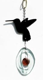 Mini Wind Chimes by Bottle Benders. American Made. See the designer's work at the 2016 American Made Show, Greenville SC May 17-19, 2016. americanmadeshow.com #americanmadeshow, #americanmade, #recycled, #recycledglass, #windchime, #hummingbird, #bird