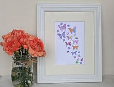 Butterfly Paper Wall Art Colourful Purple by Purple Palette, Paper Wall Art, Butterfly Art, Unique Jewelry, Frame, Handmade Gifts, Etsy, Vintage, Color