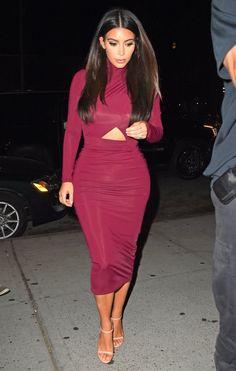 Kim Kardashian maroon dress, nude sandal heels
