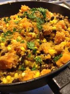 Spicy Butternut Squash Skillet (Vegetarian) *1/2 butternut squash *1 cup of quinoa, cooked (=about 1 1/2-2 cups after cooking) *1/4 cup cilantro chopped *1/4 cup onion diced *2 cloves of garlic *2 tbsp extra virgin olive oil *sriracha to taste (I used about 1/4 cup) *1 cup of organic corn *1 cup of black beans * 1 tablespoon cumin * 1 tablespoon chile powder