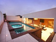 Geometric pool design using brick with glass balustrade & ground lighting - Pool photo 194057 Swimming Pool Plan, Swimming Pool Photos, Geometric Pool, Glass Balustrade, The Next Step, Cool Pools, Pool Designs, Spa, Landscape Design