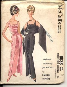 McCalls 6033 Misses Rare 1960s Pauline Trigere Pattern Evening Gown Stole Sleeveless Slim Skirt Womens Vintage Sewing Pattern Bust 36 UNCUT