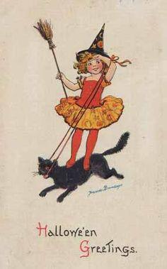 Petite sorcière montant un chat noir (image vintage ) ...