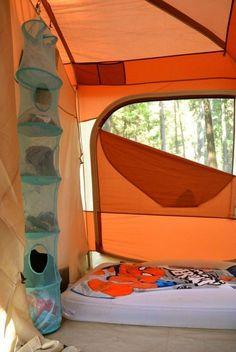 A hanging closet organizer will keep your tent organized. http://camplover.org/tent-camping-tips/ #campingtentorganization