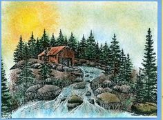 Raging Stream by hummerbee - Cards and Paper Crafts at Splitcoaststampers Nature Scenes, Bridges, Rage, Cardmaking, Landscapes, Scenery, Paper Crafts, Cards, Painting