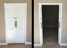 Customer used our 2560 Series Double Pocket Door Kits. Door Makeover, Pocket Door Frame, Double Pocket Door, Pocket Door Hardware, Bathroom Makeover, Attic Doors, Best Cabinet Paint, Doors, Door Frame