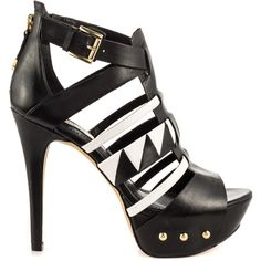 Honestly, the Oresty is a must have! This fun silhouette by Guess features a black and white leather upper with designs and studded 1 inch platform. A side buc…