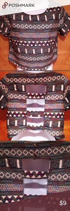 Aztec Crop Top AZTEC CROP TOP is the perfect crop! Not too short and not too long!   Short sleeves with cut out back and 2 small buttons by neck. Never worn. Tops Crop Tops