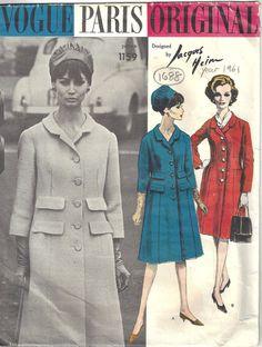 1961 Vintage VOGUE Sewing Pattern B32 COAT (1688) By JACQUES HEIM #VoguebyJaquesHeim