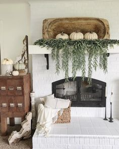 Dough bowl mantel decor! Game changes. I am obsessed with this!