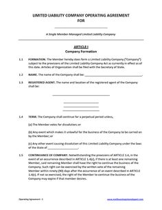 Free Operating Agreement Template For Member Managed LLC DIY - Llc bylaws template free