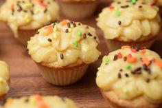 Sugar Cookie Cupcakes with Pumpkin Frosting!  A moist dense cupcake that taste like a sugar cookie!