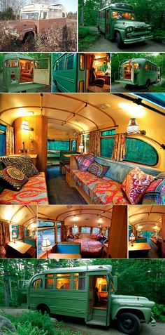 Antique bus is converted into cozy cabin in the forest [630 x 1276]