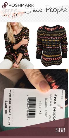 Free People Through the Storm sweater-black combo This pullover has a drapey silhouette with a beautiful fair isle design. Super soft & cozy for the upcoming colder weather. Sold Out everywhere in the lack combo!! Free People Sweaters