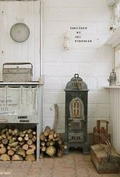 galvanized stuff around that fabulous little wood stove (want that wood parlor stove!)