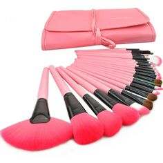 Makeup Cosmetic Brush Set with Pink Leather Case