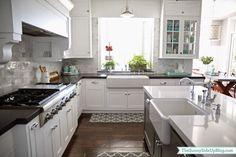 ikea laxarby? dark wood floor, silver handles