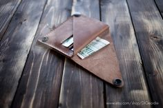 Coin pocket wallet leather wallet woman slim wallet minimal wallet brown genuine leather wallet credit card wallet card holder travel wallet by DiGeordie on Etsy