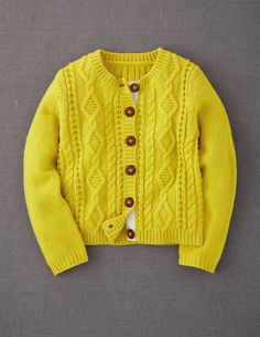 Cosy Cable Cardigan Mini Boden  Love the textured yellow.   I wore knits like this when I was a kid...