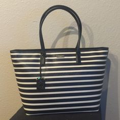 "New Kate Spade Striped Tote New with tags 100% authentic Kate Spade striped bright water drive tote. Measures 19""top/13""bottom x 11"" (H) x 6"" (W). Comes with shopping bag kate spade Bags Totes"