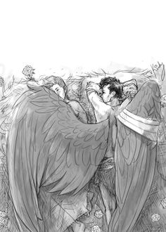 Shared by Supernatural Addict. Find images and videos about supernatural, fanart and dean winchester on We Heart It - the app to get lost in what you love. Fanart Destiel, Destiel Fanfiction, Character Art, Character Design, Supernatural Ships, Wings Drawing, Ange Demon, Angels And Demons, Art Reference Poses