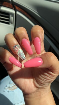 Pink Nails with hologram paper