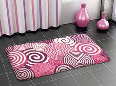 Pink Bath Rugs ~ http://modtopiastudio.com/choosing-the-tropical-bath-rugs-to-decorate-the-bathroom/