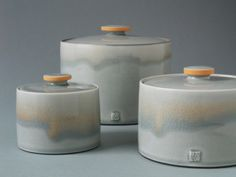 ||| james & tilla waters lidded jars ||| How to get oxides to run like this? Is this celadon over oxide?