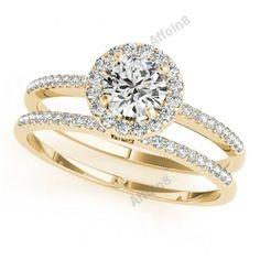 Women's 14K Yellow Gold Fn 925 Silver Round Diamond Engagement Bridal Ring Set #affordablebridaljewelry