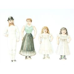 Antique Paper Doll Family with Four Outfits and Original Envelope from funcity on Ruby Lane
