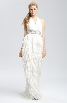 Gown of torn-edge silk chiffon by Badgley Mischka. $1,290, Nordstrom