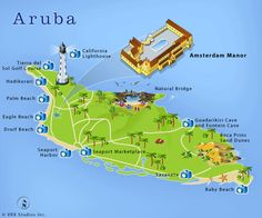 Map of Aruba showing where things are located on the island