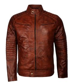 Mens Retro Rust Brown Waxed Vintage Casual Biker Motorcycle Leather Jacket For Sale Men's Leather Jacket, Biker Leather, Real Leather, Leather Men, Motorcycle Leather, Motorcycle Jacket, Quilted Leather, Vintage Biker, Vintage Jacket