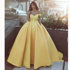 Pink off the shoulder flower Ball Gown Prom Dress Appliques Lace Satin Wedding Dress Reception Gown 2018 Fabric:Satin Process to 20 days Shipment Way:DHL,UPS,Fedex,Aramex,etc. Shipping Time: days ———————————————————— Welcome to Siaoryne. Sweet 16 Dresses, Pretty Dresses, Elegant Dresses, Beautiful Dresses, Dresses For 15, Yellow Prom Dresses, Yellow Wedding Dress, Disney Dresses, Daytime Dresses